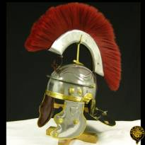 Roman Gallic Helmet, Red Crest, 18G, Large