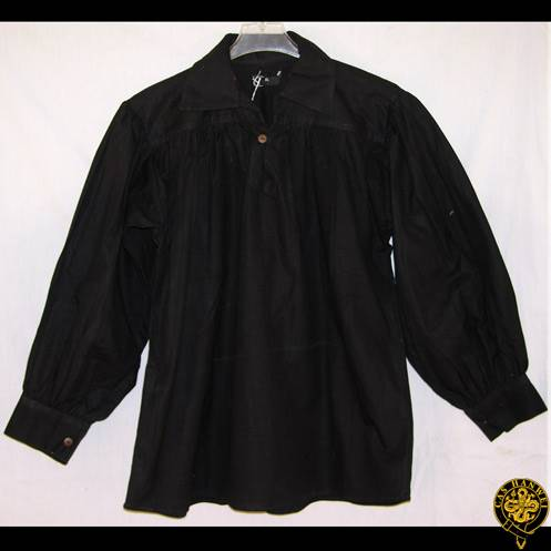Cotton Shirt, Collared, Button Neck, Black, X-Large
