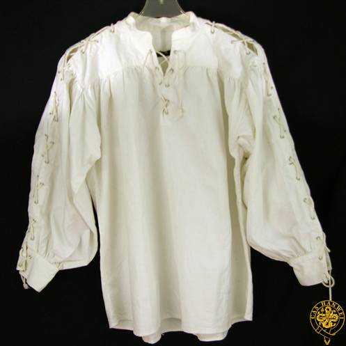 Collarless, Laced Neck&Sleeves, White, X-Large