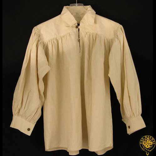 Collared, Button Neck, Natural, Medium