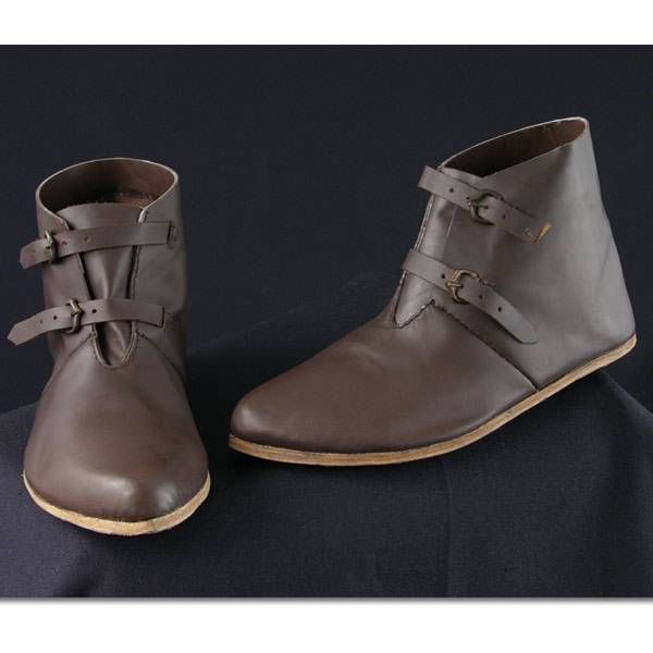 13th C Soldier's Shoes w/2 Buckles, Dark Brown
