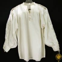 Collarless, Laced Neck&Sleeves, White, Large