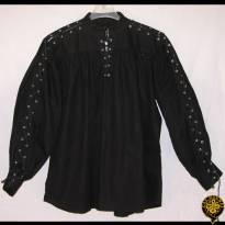Collarless, Laced Neck&Sleeves, Black, Medium
