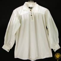 Collared, Button Neck, White, Large