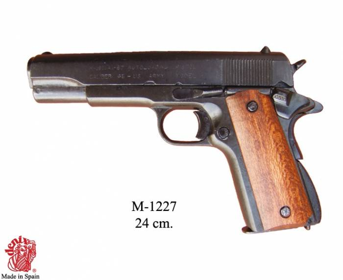M1911 pistol, made by Colt, USA 1911 (World War I & II), with wood grips.