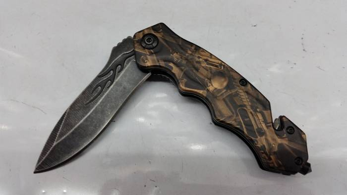 Gun Print Gold Folding Knife