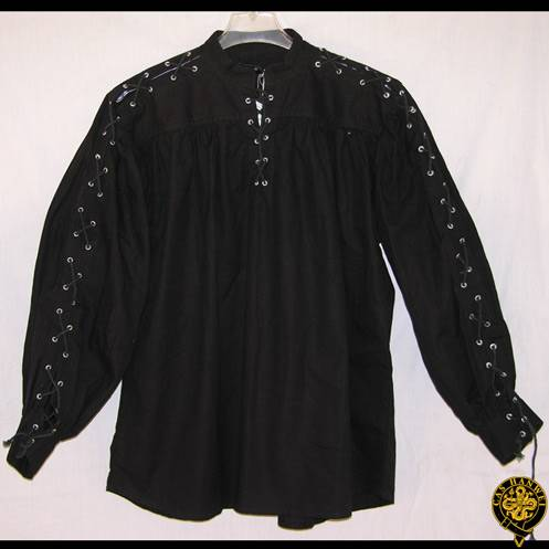 Collarless, Laced Neck&Sleeves, Black, X-Large